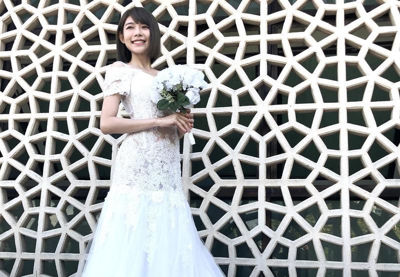 林明禎參加香港真人秀節目《港男入贅手冊》拍攝,首次穿婚紗亮相。(種子音樂提供)