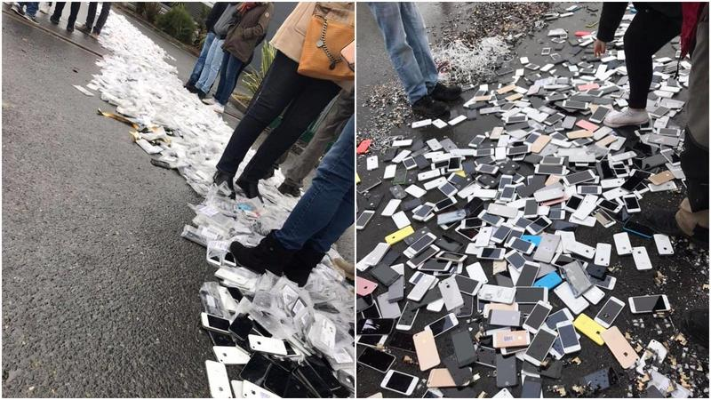 員工不滿拿不到資遣費、未來就業無保證,已輾壓手機作為抗議。(翻攝自CFDT Remade infos salariés 臉書)