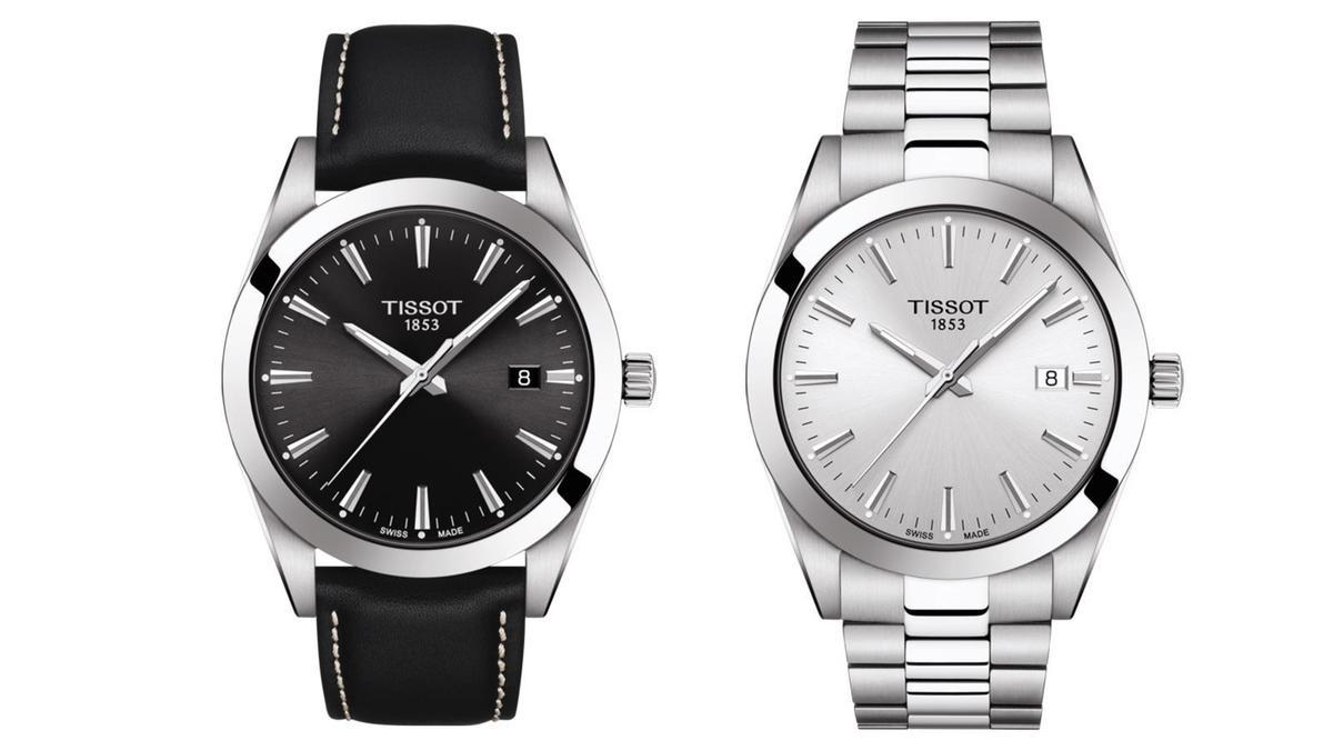 對於講求方便、精準的族群來說,天梭紳士系列石英腕錶也提供了機械錶之外的其他選擇,在錶帶和面盤顏色的搭配上同樣很多元化。錶徑40mm、時間及日期指示、石英機芯、建議售價NT$ 11,500(左)、NT$ 12,500(右)