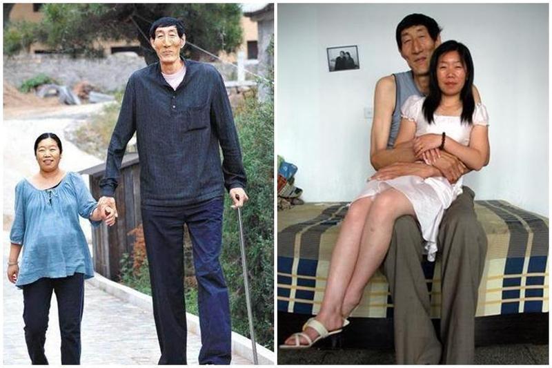 中國巨人鮑喜順中年覓得真愛,與小28歲的老婆結婚。(翻攝自網路/百家號/祖上務農)