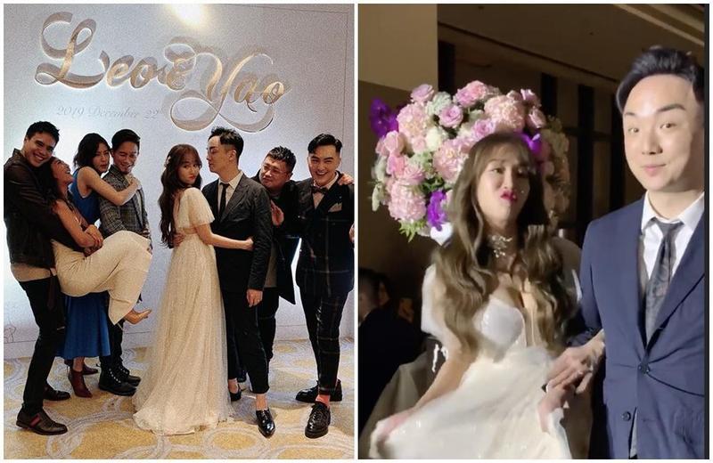 林佩瑤在22日與冠軍名廚武俊傑結婚,穿著爆乳白紗相當吸睛。(翻攝梁文音、林佩瑤IG)