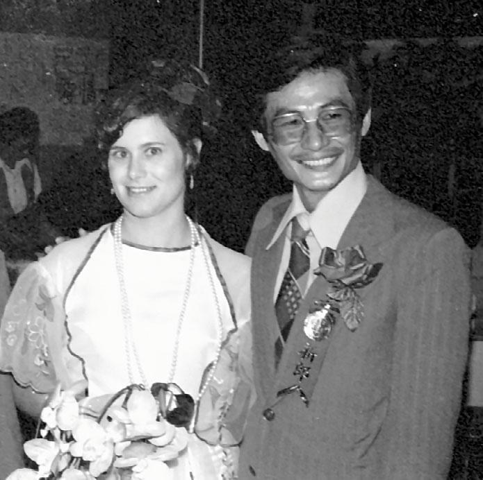 1978年,艾琳達(左)與施明德(右)舉行公開婚禮。(翻攝自《反抗的意志:1977-1979美麗島民主運動影像史》)
