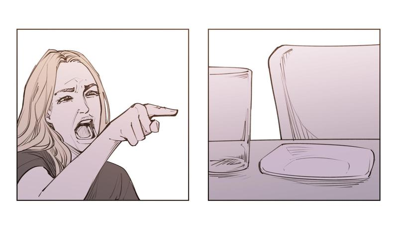 漫畫家 Unfins 用「女人吼貓」的迷因圖畫出不一樣的人貓故事。(翻攝 Unfins Twitter)