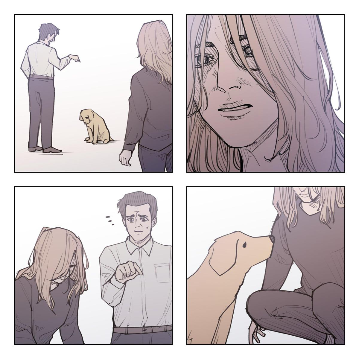 主人發現狗狗為自己擔心。(翻攝 Unfins Twitter)