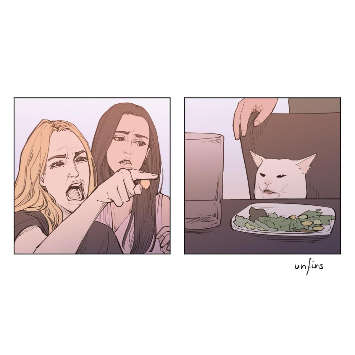 重現女人吼貓畫面。(翻攝 Unfins Twitter)