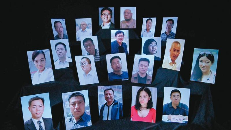 2015年「709大抓捕」約300名維權律師突遭逮捕、審問,其中王全璋(上起第二排左四)至今仍未獲釋。(世界公視大展提供)
