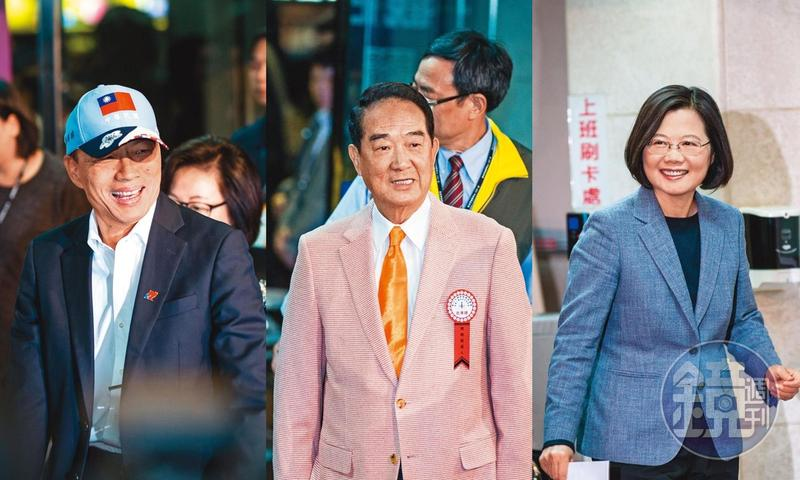總統制或雙首長制會讓一個人權力大到可以為所欲為的貪腐和獨裁,這是台灣最危險又邪惡的民主體制隱憂。圖為2020年台灣總統候選人蔡英文(右起)、宋楚瑜、韓國瑜。