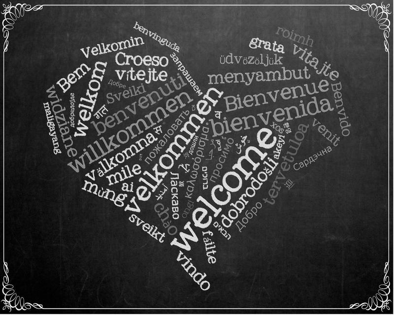 由各個語言中代表「歡迎」的單詞所組成的心形圖案。(網路截圖:pixabay)
