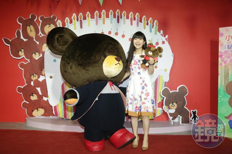 福原愛說自己從大學時就很喜歡小熊學校,知道要在台灣辦展,立刻向經紀人說:「我要去!」
