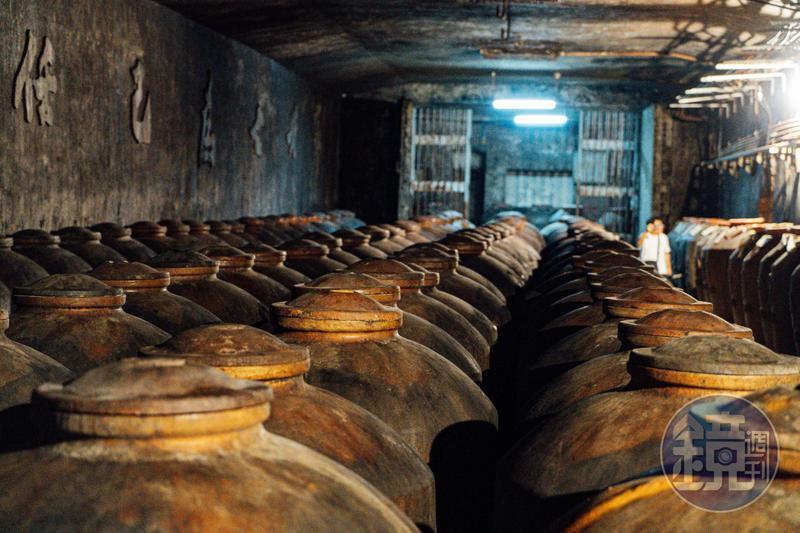 「光華園」坑道曾是軍用氫氣倉庫,陶罈一字排開有如閱兵般壯觀。