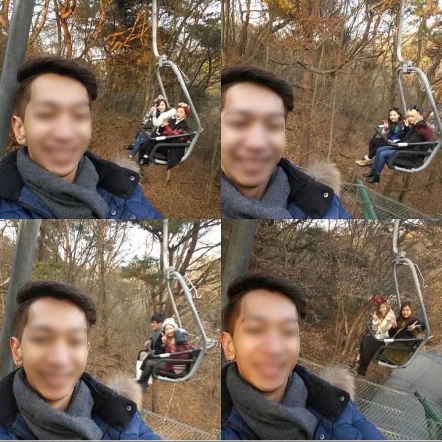 男子在愛寶樂園遊玩時自拍,卻意外與TWICE同框。(翻攝아이돌 이슈)