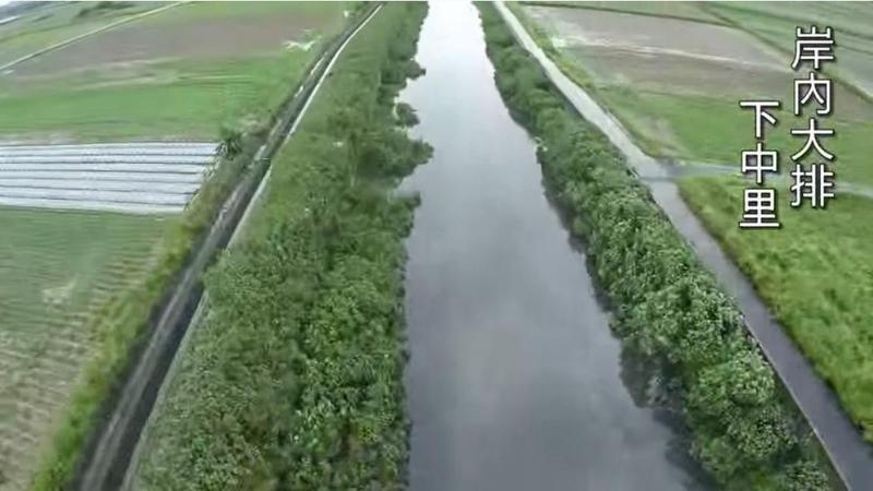 鹽水大排為台南市鹽水區重要的排水系統。(翻攝台南鹽水區公所鹽水大排空拍畫面)
