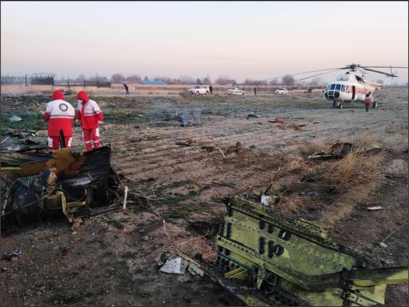 烏克蘭航空在起飛不久後墜毀,伊朗調查稱技術問題,不過加拿大和英國都不這麼認為。(翻攝自推特)