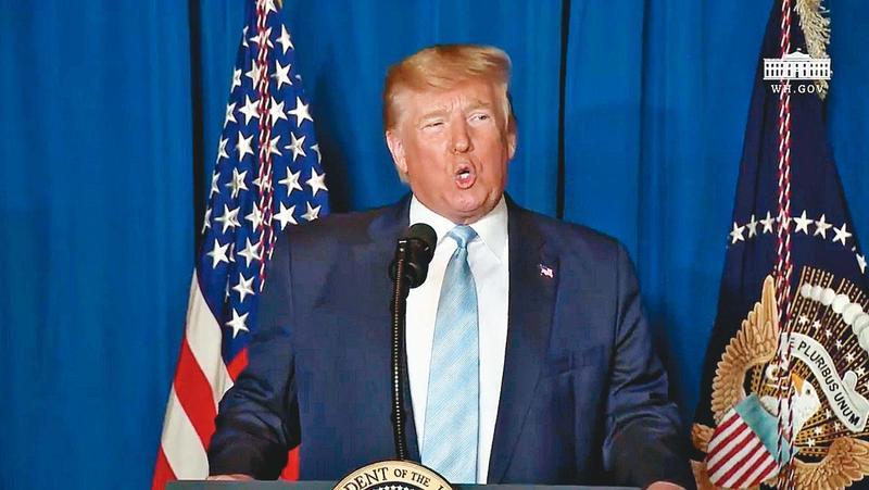 伊朗對美軍駐伊拉克基地發射多枚導彈,美國總統川普在推特上表示:目前一切都很好。(翻攝自川普推特)