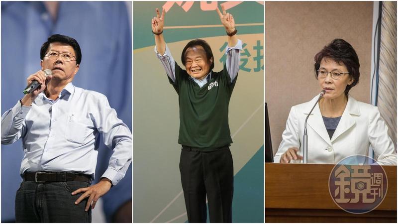 謝龍介(左)和王世堅(中)表示會兌現選前承諾,不過黃昭順(右)對跳潭一事不做回應。