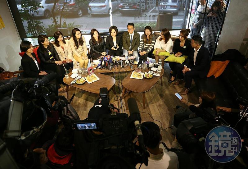 14日于美人邀約各競選陣營發言人一起喝茶,呼籲台灣社會回歸理性,修補人際關係。