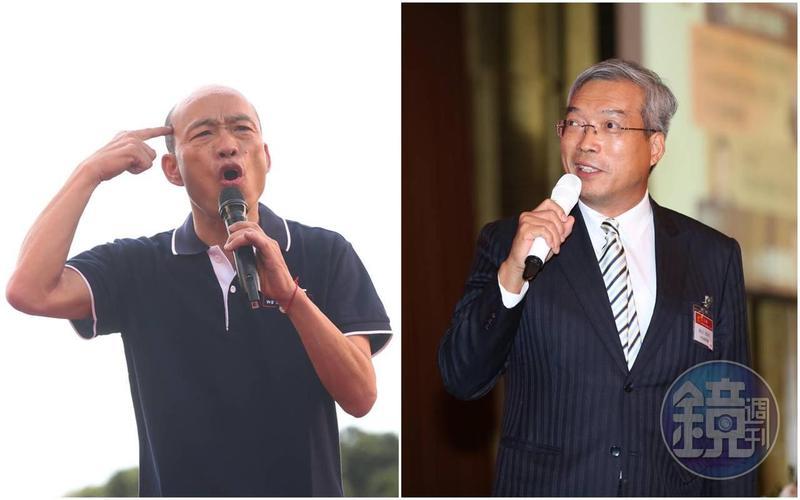 謝金河(右)昨日演講爆料,指以前韓國瑜(左)在北農工作時,更是每天一定要喝酒、沒喝睡不著。(本刊資料照)