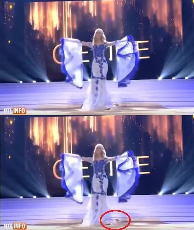 席琳歐賽爾在選美比賽慘摔,當場跌出米白色的無肩帶Bra。(翻攝自YouTube)