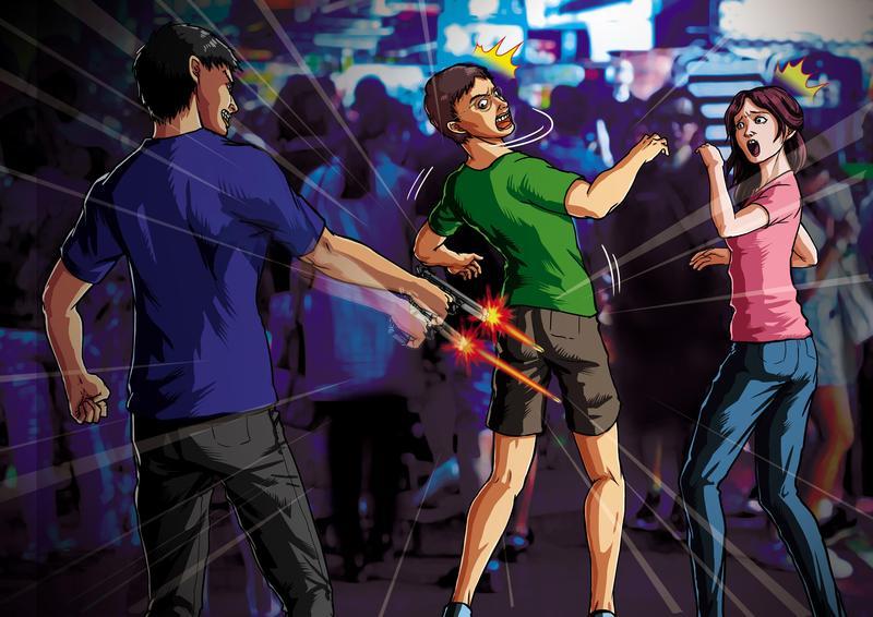 前竹聯幫青堂堂主吳承暾逛夜市時,遭槍擊下體,睪丸破裂。
