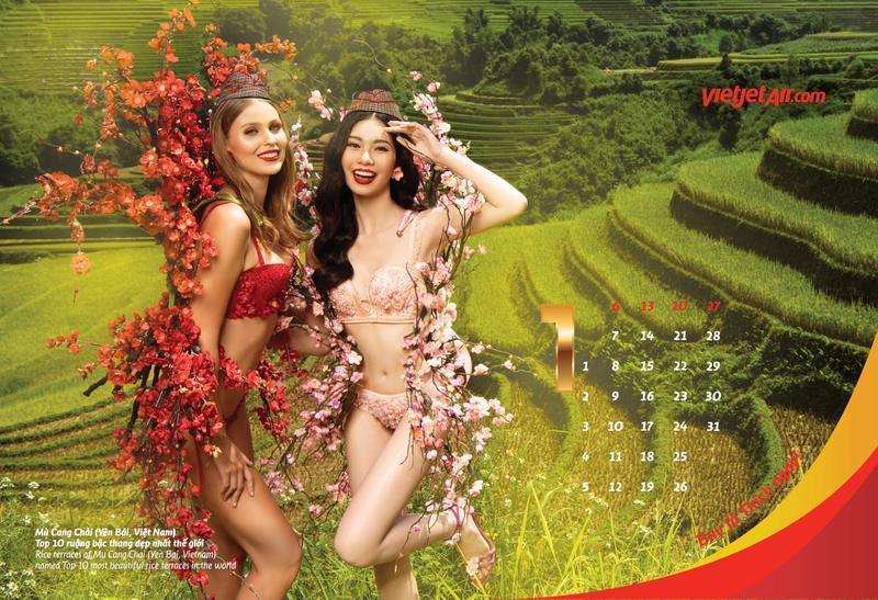 穿著火辣比基尼的越捷女郎,搭配象徵亞洲各地的繽紛炫麗花朵,於越南及亞洲各大知名旅景點進行拍攝。(越捷航空提供)