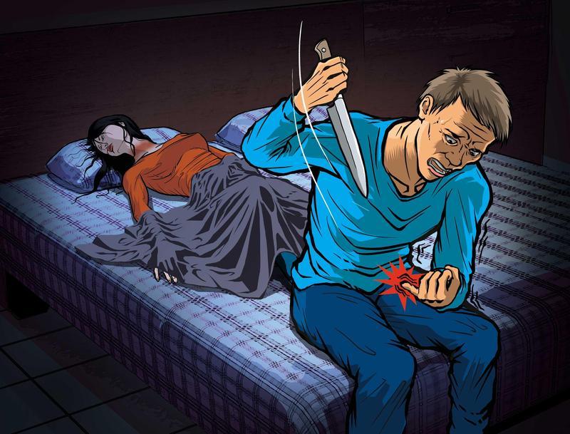 陳智賢掐死阿娟後心慌不已,拿刀自殘,還割手指,想同歸於盡。