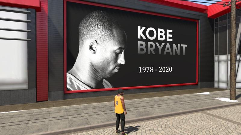 《NBA 2K20》將遊戲中的廣告看板換成悼念布萊恩的照片,玩家也將遊戲中的球員穿上布萊恩球衣,悼念這位偉大球星。(翻攝自reddit)