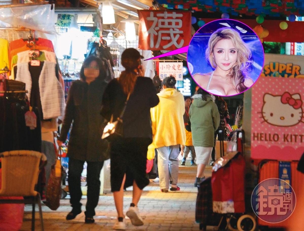 產後蹓躂:到了1月8日,雪碧被本刊目擊一身黑衣,神祕出沒在四平商圈,講著電話快速行走。