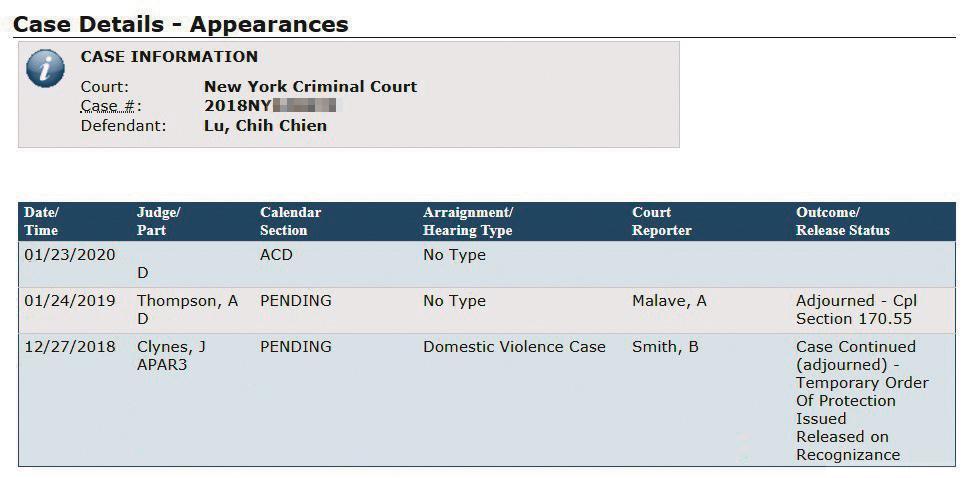 紐約法院電腦系統顯示,呂志堅今年1月23日,有家暴案件開庭。(翻攝畫面)