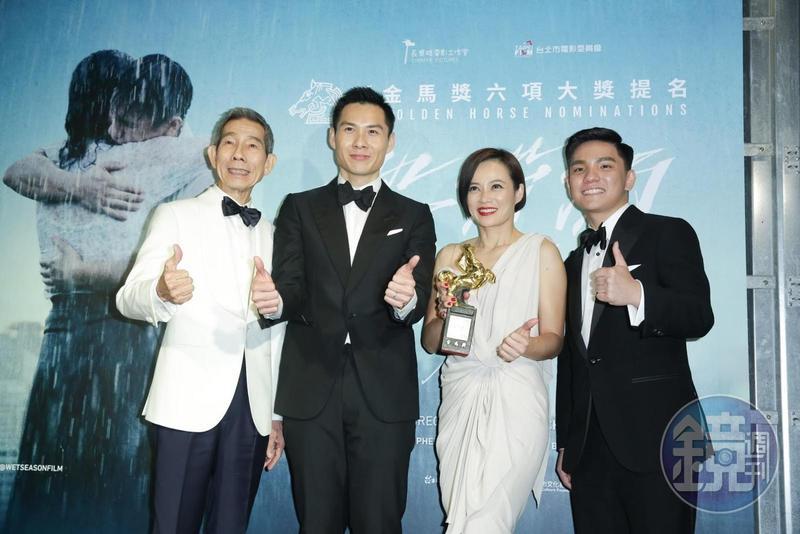 陳哲藝(左2)執導的《熱帶雨》楊世彬(左起)、楊雁雁、許家樂等演員表現亮眼。(本刊資料照片)
