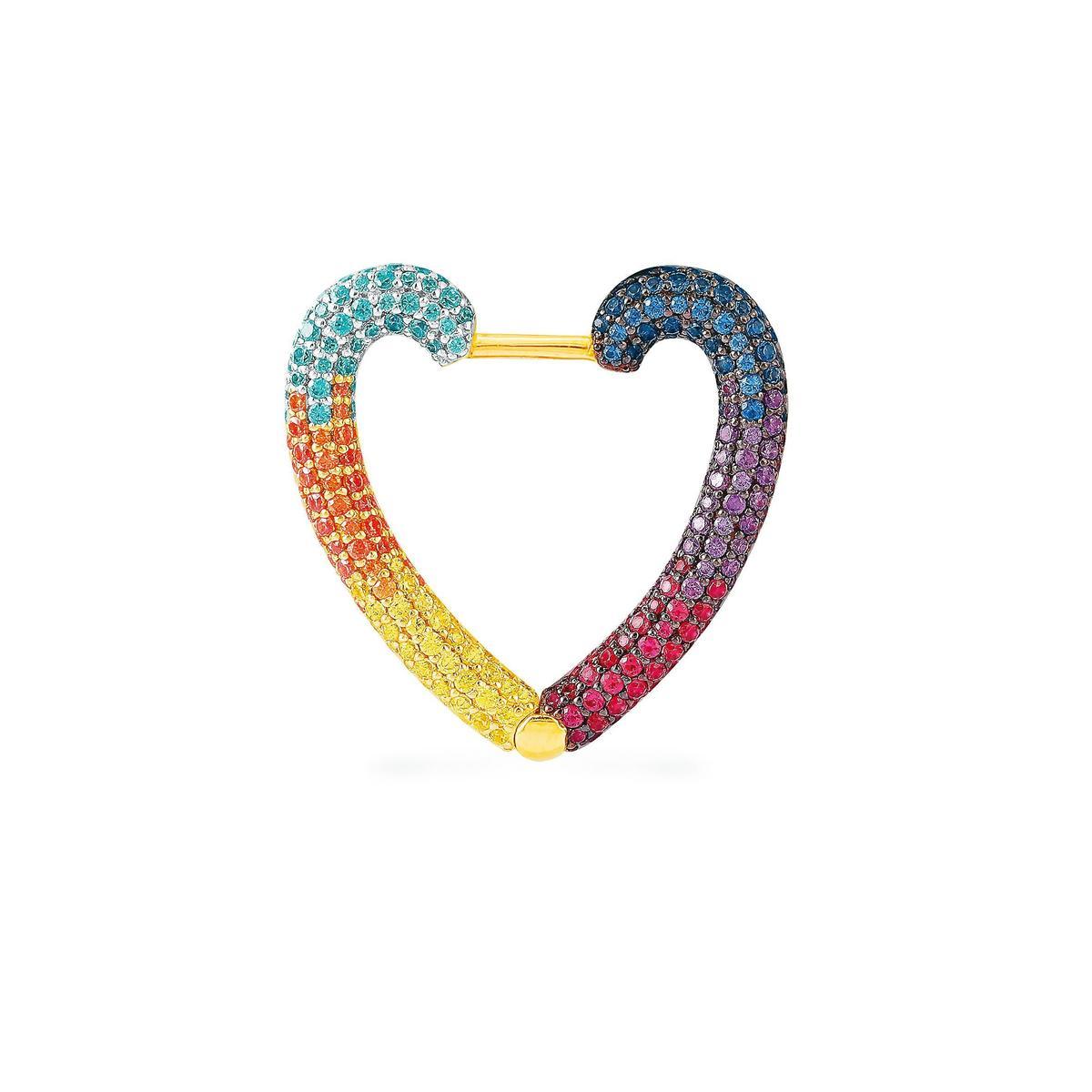 單只彩虹心形耳環 NT$6,000(APM Monaco提供)