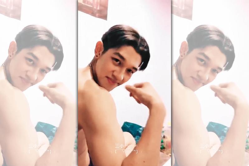 陳晁慶對自己的身材頗有自信,時常展現肌肉線條,相當自戀。(翻攝自網路)