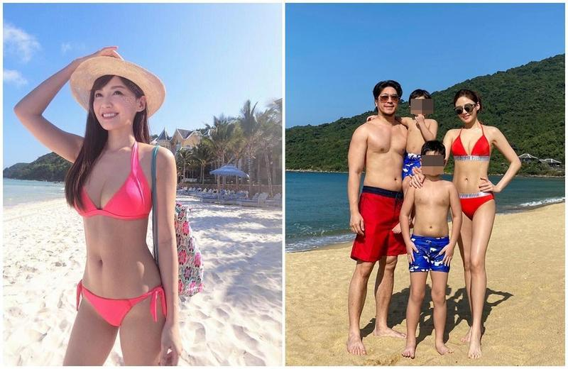 王怡仁在臉書大晒一家四口在越南渡假照,39歲的她更穿上火紅色比堅尼。(翻攝自王怡仁臉書)