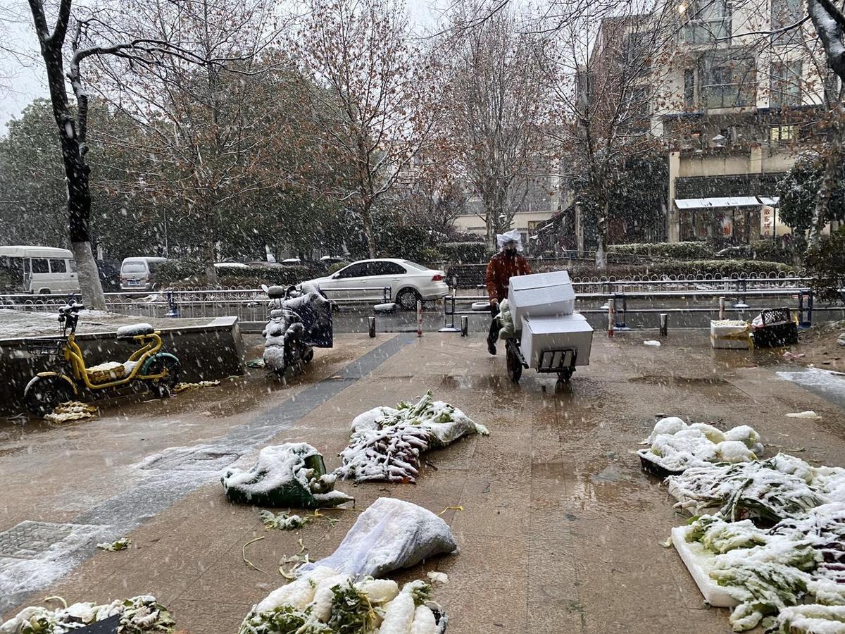 武漢某處住家樓下,菜販正用小推車卸下新鮮蔬菜。(艾曉明提供)