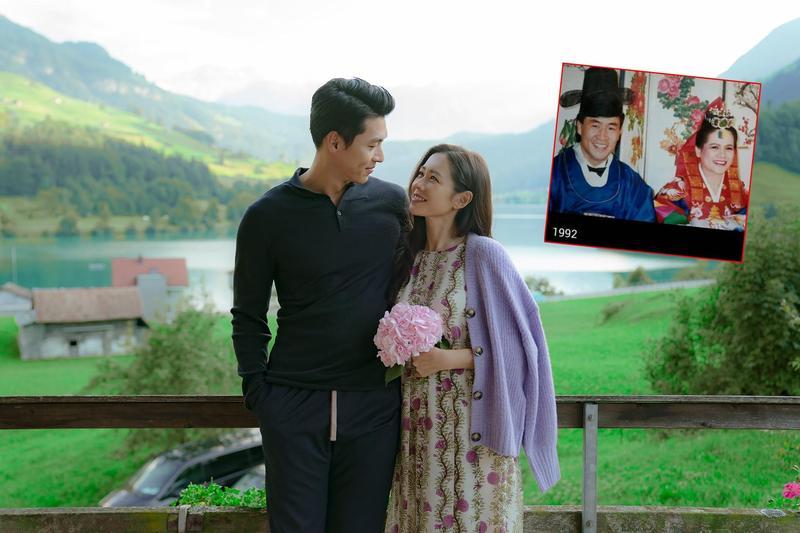 玄彬(左)與孫藝真(右)在《愛的迫降》跨越南北韓38度線相愛。真實生活中(小圖),北韓的李昌壽也因為愛上台灣的陳鈴真而脫北。(Netflix提供,翻攝BBangjin youtube頻道)