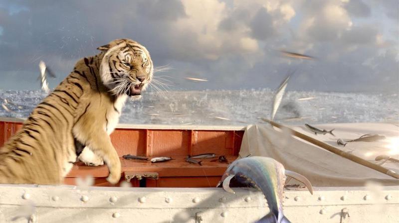 《少年Pi的奇幻漂流》以真老虎和數位老虎交互穿插拍攝,騙過觀眾的眼睛。 (翻攝自animationmagazine.net)
