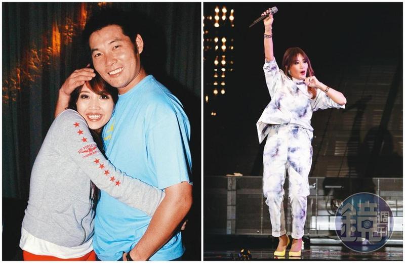 A-Lin在台北小巨蛋連辦3場「Passenger旅.課」演唱會,舞台上風光無比,曾入圍金曲獎最佳新人獎未得獎,當時還是男友的黃甘霖,以愛的抱抱安慰。(左圖取自東方IC)