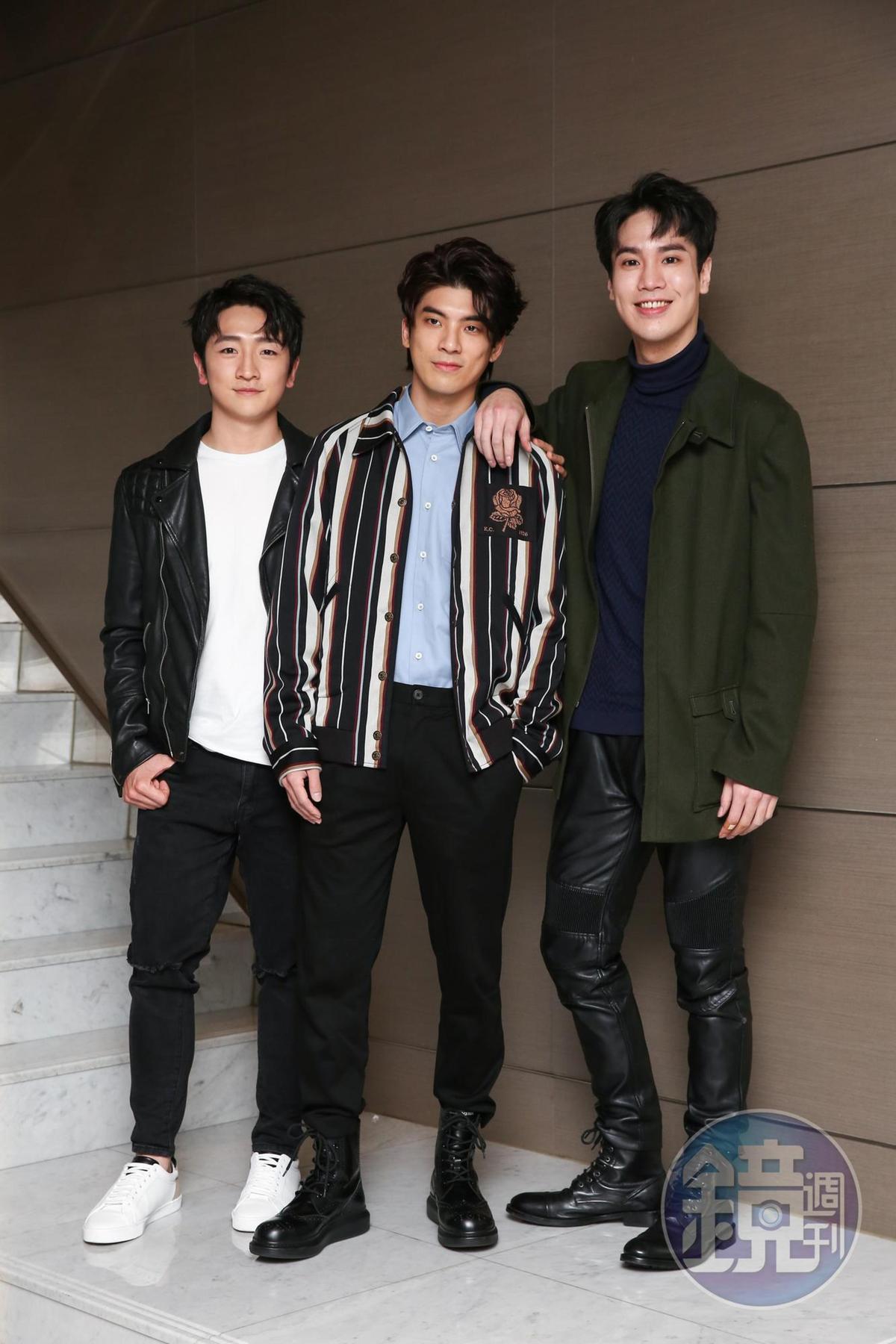 葛丞(左起)、林哲熹、謝毅宏在片中都有吃重演出。