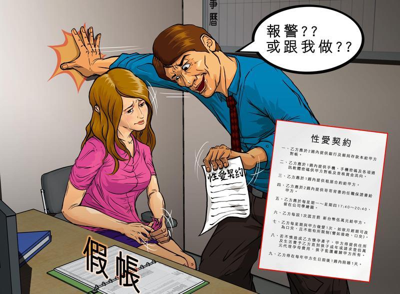 張姓機電公司老闆,以提告威脅侵吞公款的女會計簽下性愛契約,當他的小三。(圖為模擬畫面)