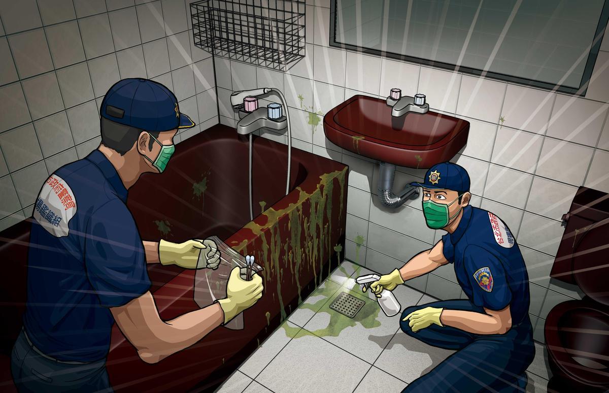 鑑識人員用特殊藥劑大範圍噴灑浴室,結果出現107處血跡反應。(圖為示意畫面)