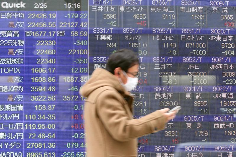 日本街頭戴著口罩的路人,行經標示股價行情的看板。(東方IC)