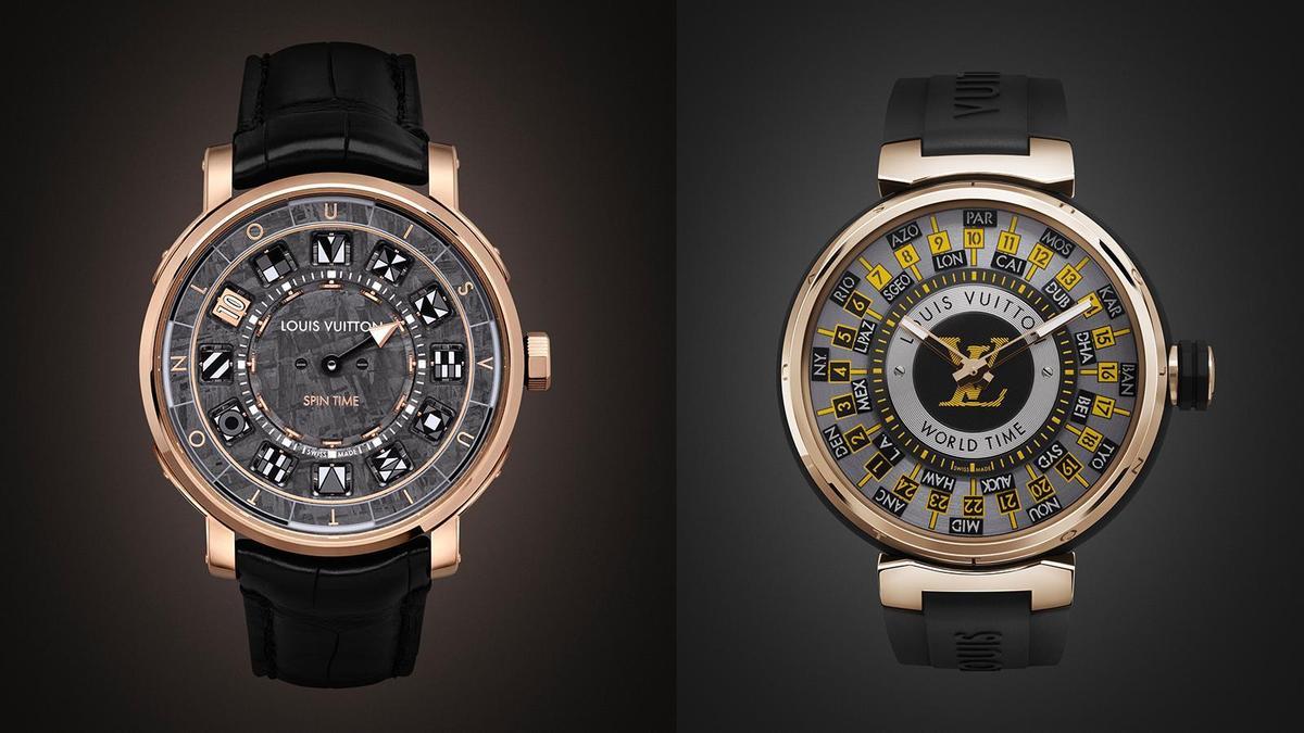 (左)Escale Spin Time Meteorite 錶徑41mm、鈦金屬錶殼、LV 77自動上鏈機芯、分鐘及旋轉方塊小時指示、防水30米。(右)Tambour World Time Runway 錶徑45mm、不鏽鋼錶殼、LV 107自動上鏈機芯、時間指示、世界時區功能、防水50米。