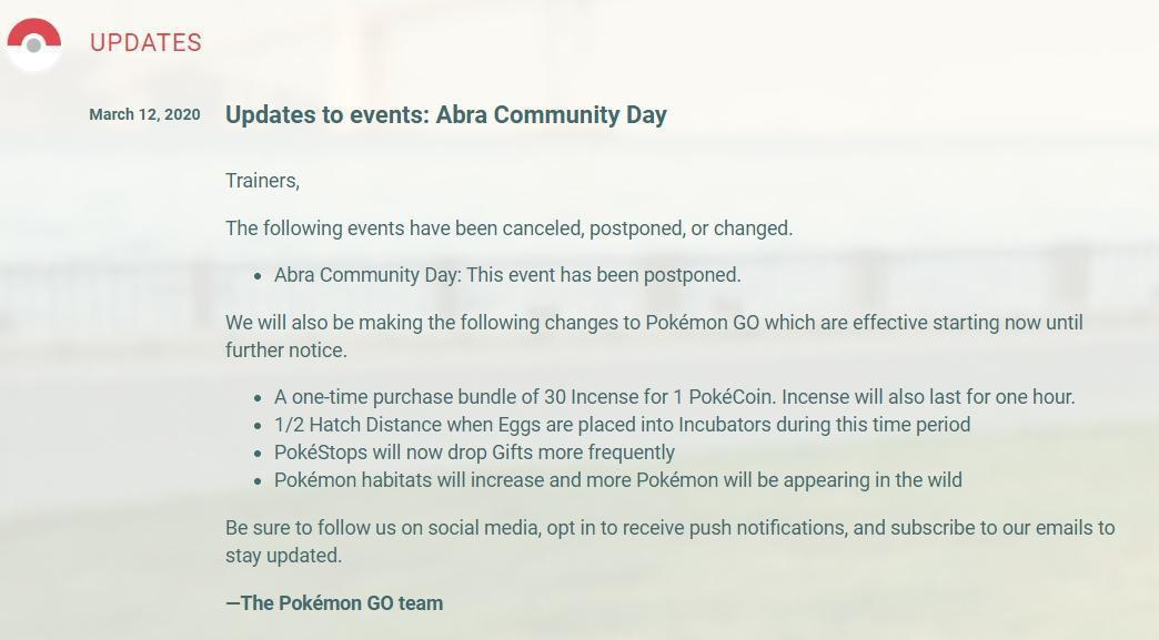 隨著近日新冠肺炎疫情再度升溫,《Pokémon Go》緊急宣布取消這次全球社群日。(翻攝自Pokémon Go)