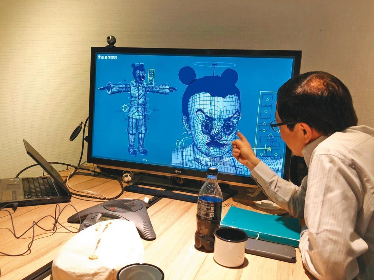 動畫團隊花費3個月打造諸葛四郎的3D建模雕刻細節,還原角色表情。(童年漫畫提供)
