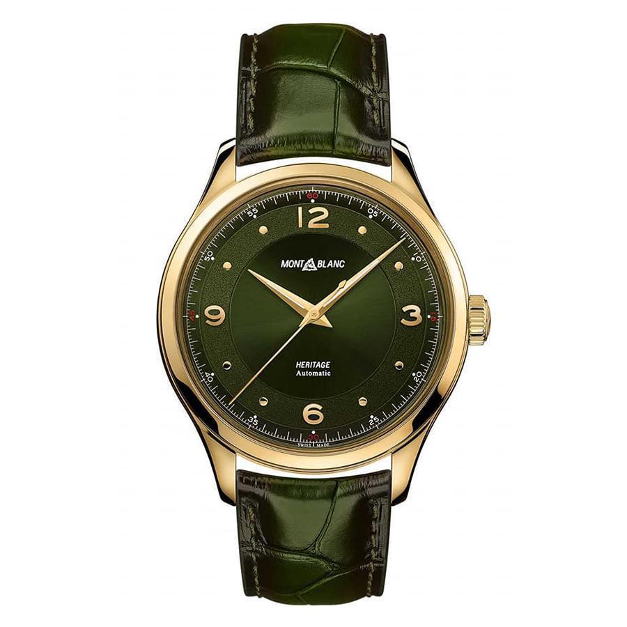 Heritage大三針綠面腕錶|錶徑40mm、18K黃金錶殼、MB 24.27自動上鏈機芯、時間指示、防水50米、建議售價USD 8,900 (換算約NTD 270,000)