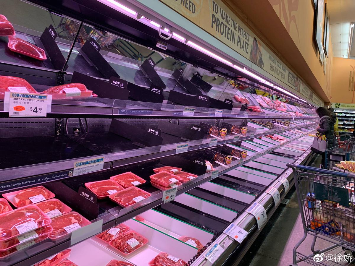 徐嬌表示,只剩下一些不受歡迎的部位,因此她買了豬頸肉、牛柏葉和羊肉。(翻攝自徐嬌微博)