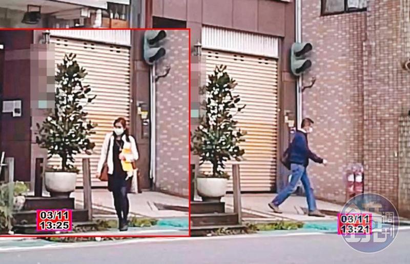 03/11 王浩每次結束幽會、步出華廈時,都會向左走,到停車場牽車。陳淑娟(左圖)確認王浩取車後才離開華廈。