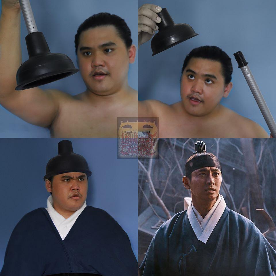 朱智勛在《李屍朝鮮》的造型可以這麼翻玩,馬桶工具版。(翻攝自Lowcostcosplay粉絲頁)