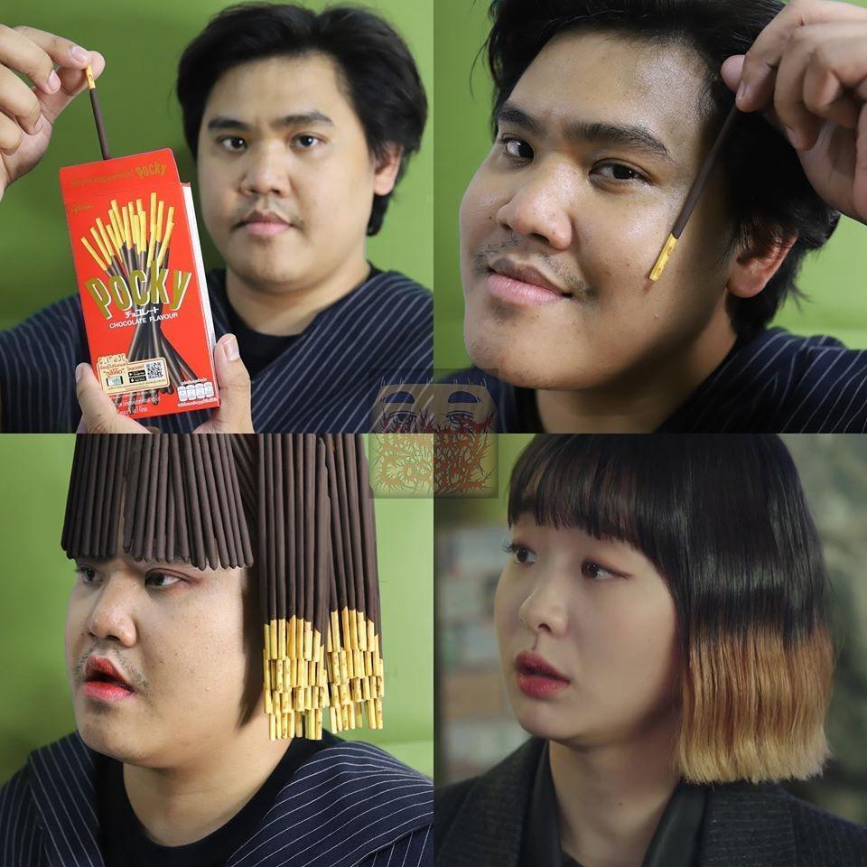 《梨泰院》金多美的髮型,原來用Pocky餅乾也可以玩出來。(翻攝自Lowcostcosplay粉絲頁)