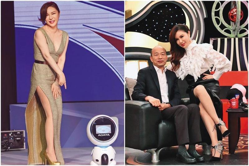 利菁(左圖)常看到陳沂在網路上罵韓國瑜,去年在節目上專訪韓國瑜(右圖左),還問陳沂要不要同台。(右圖為中天提供)