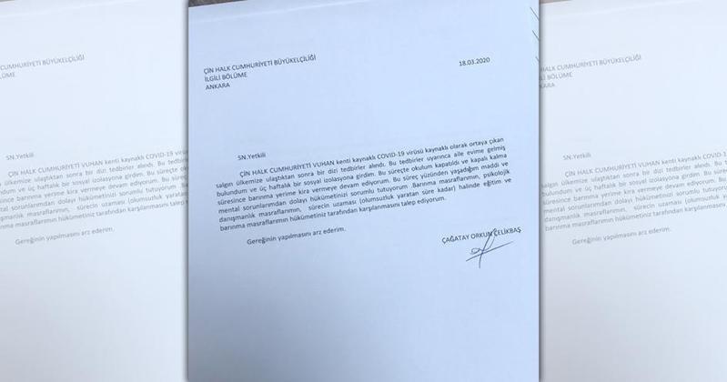 土耳其學生切利克巴什寫信到中國大使館要求賠償。(翻攝自推特)